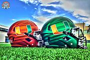 """2014 Miami Hurricanes Football - """"Surge & Juice"""" Helmets"""
