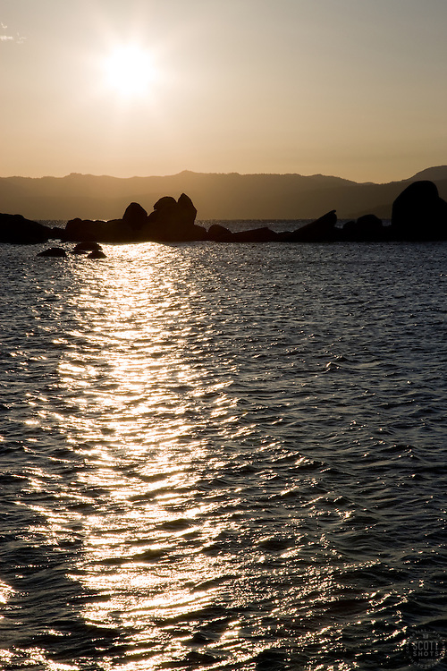 """""""Sunset at Lake Tahoe 3"""" - This sunset and silhouetted  rocks were photographed at Sand Harbor, Lake Tahoe."""