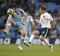 Photo: Aidan Ellis.<br /> Manchester City v Tottenham Hotspur. The Barclays Premiership. 17/12/2006.<br /> City's Joey Barton and Spurs Teemu Tanio (R) battle for the ball