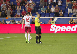 September 27, 2017 - Harrison, New Jersey, United States - Referee Chris Penso points to penalty spot after Gonzalo Veron (not pictured) of Red Bulls was fauled inside box during regular MLS game against DC United at Red Bull Arena Game ended in draw 3 - 3  (Credit Image: © Lev Radin/Pacific Press via ZUMA Wire)