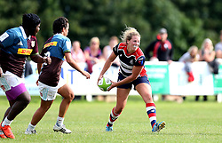 Amber Reed (c) of Bristol Ladies passes the ball - Mandatory by-line: Robbie Stephenson/JMP - 18/09/2016 - RUGBY - Cleve RFC - Bristol, England - Bristol Ladies Rugby v Aylesford Bulls Ladies - RFU Women's Premiership