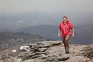 Walker wearing Paramo Aspira Smock and Asacha Trousers, climbing Veleta from Hoya de la Moro, in the Spanish Sierra Nevada.
