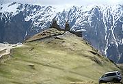 Georgia, Georgian military Highway, landscape seen from the Russia Georgia Friendship Monument