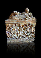 Etruscan Hellenistic style cinerary, funreary, urn ,  National Archaeological Museum Florence, Italy , black background .<br /> <br /> If you prefer to buy from our ALAMY PHOTO LIBRARY  Collection visit : https://www.alamy.com/portfolio/paul-williams-funkystock - Scroll down and type - Etruscan Florence - into LOWER search box. (TIP - Refine search by adding a background colour as well).<br /> <br /> Visit our ETRUSCAN PHOTO COLLECTIONS for more photos to download or buy as wall art prints https://funkystock.photoshelter.com/gallery-collection/Pictures-Images-of-Etruscan-Historic-Sites-Art-Artefacts-Antiquities/C0000GgxRXWVMLyc