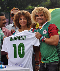 September 8, 2017 - Kolkata, West Bengal, India - Colombian former footballer Carlos Alberto Valderrama Palacio (Valderrama) participates in a soccer event at Mohunbagan Club football ground on September 8, 2017 in Kolkata. (Credit Image: © Saikat Paul/Pacific Press via ZUMA Wire)