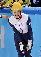Great Britain's Elise Christie reacts after she was disqualified from the ladies' 500M short track speed skating final for causing a crash at the Sochi 2014 Winter Olympics on February 13, 2014 in Sochi, Russia.  (UPI)