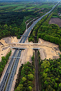 Nederland, Noord-Holland, Hilversum, 09-05-2013; Ecoduct Zwaluwenberg, over A27 en spoorlijn Utrecht - Hilversum, Ecocorridor. Aangelegd om ecologische versnippering tegen te gaan.<br /> luchtfoto (toeslag op standard tarieven)<br /> aerial photo (additional fee required)<br /> copyright foto/photo Siebe Swart