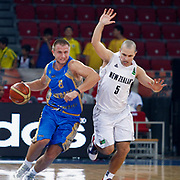 Ukraine's Oleksandr KOLCHENKO (L) and New Zeland's Michael FITCHETT (R) during their Istanbul CUP 2011match played Ukraine between New Zeland at Abdi Ipekci Arena in Istanbul, Turkey on 25 August 2011. Photo by TURKPIX