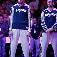 18 February 2014: San Antonio Spurs power forward Tim Duncan (21) and San Antonio Spurs shooting guard Manu Ginobili (20) are seen during the national anthem prior to the San Antonio Spurs 113-103 victory over the Los Angeles Clippers at the Staples Center, Los Angeles, California, USA.