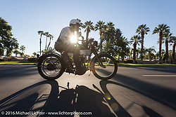 Dean Bordigioni of California riding his Class-1 single-cylinder single-speed 1914 Harley-Davidson shortly after sunrise on the last day of the Motorcycle Cannonball Race of the Century. Stage-15 ride from Palm Desert, CA to Carlsbad, CA. USA. Sunday September 25, 2016. Photography ©2016 Michael Lichter.
