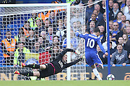 GOAL / Eden Hazard of Chelsea scores his sides 2nd goal. Premier league match, Chelsea v Leicester city at Stamford Bridge in London on Saturday 15th October 2016.<br /> pic by John Patrick Fletcher, Andrew Orchard sports photography.