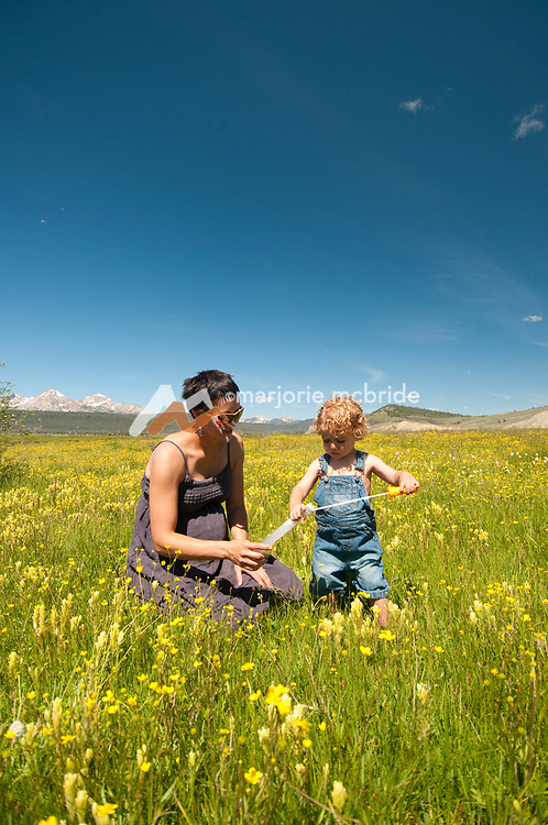Mother and son playing with bubbles in wildflower field, Stanley, Idaho.