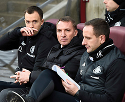 Celtic manager Brendan Rodgers (centre) in the technical area during the Ladbrokes Scottish Premiership match at Tynecastle Stadium, Edinburgh. PRESS ASSOCIATION Photo. Picture date: Sunday December 17, 2017. See PA story SOCCER Hearts. Photo credit should read: Ian Rutherford/PA Wire. EDITORIAL USE ONLY