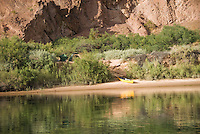 Campground and canoe reflections, The Black Canyon, Nevada.