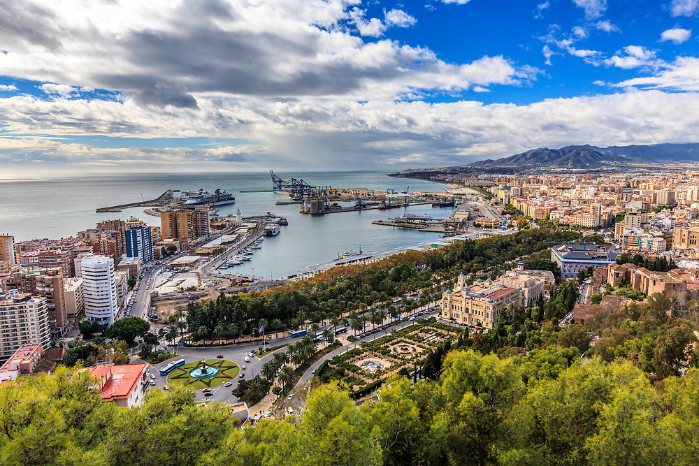 A view from the old Muslim castle, known as the Gibralfaro in Malaga, Spain. Malaga's port is over three thousand years of age and every year cruise ships bring thousands of passengers to explore this fascinating old city.
