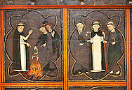 Close up of a Gothic painted Panel of the life of Saint Dominic, anonymous artist from Aragon. Tempera and varnished metal plate on wood. First quarter of 14th century. 134 x 193 x 8.3 cm. From the church of Sant Miquel de Tamarit de Llitera (Huesca). National Museum of Catalan Art, inv no: 015825-000 .<br /> <br /> <br /> If you prefer you can also buy from our ALAMY PHOTO LIBRARY  Collection visit : https://www.alamy.com/portfolio/paul-williams-funkystock/gothic-art-antiquities.html  Type -     MANAC    - into the LOWER SEARCH WITHIN GALLERY box. Refine search by adding background colour, place, museum etc<br /> <br /> Visit our MEDIEVAL GOTHIC ART PHOTO COLLECTIONS for more   photos  to download or buy as prints https://funkystock.photoshelter.com/gallery-collection/Medieval-Gothic-Art-Antiquities-Historic-Sites-Pictures-Images-of/C0000gZ8POl_DCqE
