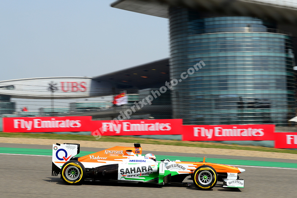 Paul di Resta (Force India-Mercedes) during qualifying for the 2013 Chinese Grand Prix in Shanghai. Photo: Grand Prix Photo