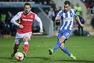 Brighton & Hove Albion centre forward Sam Baldock (9) shoots with Joe Mattock (Rotherham United) closing down on him during the EFL Sky Bet Championship match between Rotherham United and Brighton and Hove Albion at the AESSEAL New York Stadium, Rotherham, England on 7 March 2017. Photo by Mark P Doherty.