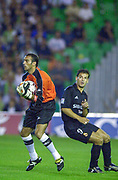 Photo Peter Spurrier<br /> 14/09/2002<br /> 2002 Real Betis vs Real Madrid  - Spanish Liga 1<br /> Real Betis Keeper, Antonio Prats Cervera, collects the ball, intended for Madrid's - Fernando Morientes Sánchez