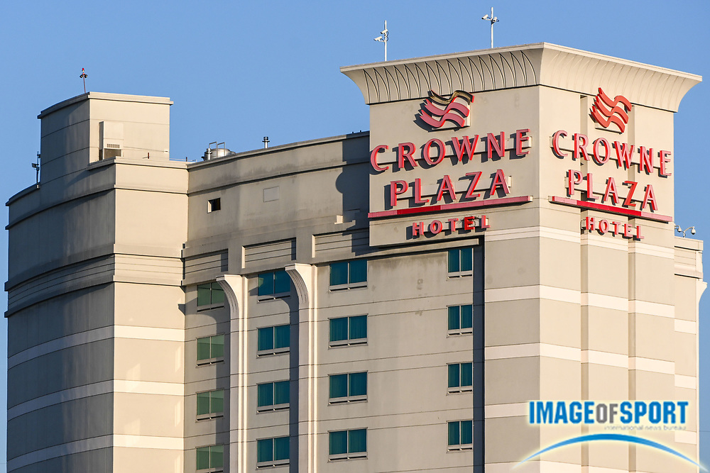 General overall view of Crowne Plaza Hotel, Tuesday, Sept. 22, 2020, in Commerce, Calif. (Dylan Stewart/Image of Sport)
