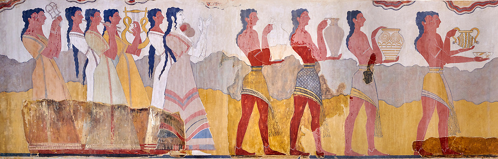 The Minoan 'Procession Fresco', wall art from the South Prpylaeum, Knossos Palace, 1500-1400 BC . Heraklion Archaeological Museum.<br /> <br /> This latrge Minoan fresco of many figure in procession would have decorated the corridor between the West Porch and the South Propylaeum of Knossos Palace. Both sides of the corridor were painted with hundreds of male and femal;e figures carrying precious utensils and vessels, probably depicting gift bearers to the ruler of the Palace. The composition is much like those found in the Palaces and tombs of Egypt and the near east at the time. Neopalatial final period. .<br /> <br /> If you prefer to buy from our ALAMY PHOTO LIBRARY  Collection visit : https://www.alamy.com/portfolio/paul-williams-funkystock/minoan-art-artefacts.html . Type -   Heraklion   - into the LOWER SEARCH WITHIN GALLERY box. Refine search by adding background colour, place, museum etc<br /> <br /> Visit our MINOAN ART PHOTO COLLECTIONS for more photos to download  as wall art prints https://funkystock.photoshelter.com/gallery-collection/Ancient-Minoans-Art-Artefacts-Antiquities-Historic-Places-Pictures-Images-of/C0000ricT2SU_M9w
