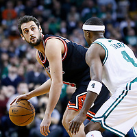 18 January 2013: Chicago Bulls shooting guard Marco Belinelli (8) looks to pass the ball over Boston Celtics shooting guard Jason Terry (4) during the Chicago Bulls 100-99 overtime victory over the Boston Celtics at the TD Garden, Boston, Massachusetts, USA.