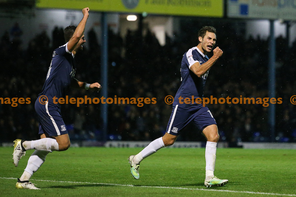 Will Atkinson of Southend United (right) celebrates scoring to make it 2-0 during the Sky Bet League 1 match between Southend United and Bradford City at Roots Hall in Southend. November 19, 2016.<br /> Arron Gent / Telephoto Images<br /> +44 7967 642437