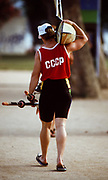Barcelona,  SPAIN, 1992 Olympic Regatta. Lake Banyoles, Nr Barcelona SPAIN, Russian Athletes in the old CCCP Vests,  [Photo, Peter Spurrier/Intersport-images]