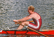 Henley on Thames,  United Kingdom, Diamond Challenge Scull, Men's single sculls event, USA., Competitor, Andy SUDDETH, 1988 Henley Royal Regatta, Henley Reach, Thames Valley, British Summertime.<br /> [Mandatory Credit, Peter SPURRIER/Intersport Images] <br /> <br /> Scans from Positives, April 2019 , Red, Van Dusan, Single Scull,