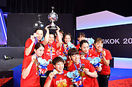 BANGKOK, THAILAND - MAY 26: Team Japan celebrate with their gold medals during the Medals Presentation at the BWF Total Thomas and Uber Cup Finals 2018, Impact Arena, Bangkok, Thailand on May 26, 2018.<br /> .<br /> .<br /> .<br /> (Photo by: Naratip Golf Srisupab/SEALs Sports Images)<br /> .<br /> Any image use must include a mandatory credit line adjacent to the content which should read: Naratip Golf Srisupab/SEALs Sports Images