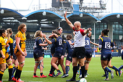 Warriors celebrate their opening try - Mandatory by-line: Nick Browning/JMP - 24/10/2020 - RUGBY - Sixways Stadium - Worcester, England - Worcester Warriors Women v Wasps FC Ladies - Allianz Premier 15s