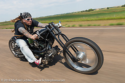 Jack Kowalchik of Albany, New York riding north of Sturgis on highway 79 during the annual Sturgis Black Hills Motorcycle Rally. SD, USA. August 3, 2014.  Photography ©2014 Michael Lichter.