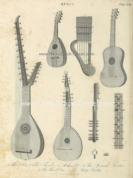String Instruments: Lute, Guitar and Mandolin Copperplate engraving From the Encyclopaedia Londinensis or, Universal dictionary of arts, sciences, and literature; Volume XVI;  Edited by Wilkes, John. Published in London in 1819