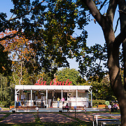 Small vintage cafe in Gorky park, Moscow, Russia