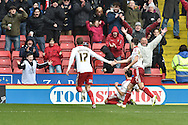 Sheffield United forward Billy Sharp celebrates scoring goal (on knees) to go 1-0 up during the Sky Bet League 1 match between Sheffield Utd and Port Vale at Bramall Lane, Sheffield, England on 20 February 2016. Photo by Ian Lyall.