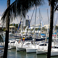 2004 Miami International Strictly Sail Boat Show display at Miami's Bayside Market.  New sailboats  and associated gear is up for sale.