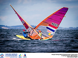 Aarhus, Denmark is hosting the 2018 Hempel Sailing World Championships from 30 July to 12 August 2018. More than 1,400 sailors from 85 nations are racing across ten Olympic sailing disciplines as well as Men's and Women's Kiteboarding. <br /> 40% of Tokyo 2020 Olympic Sailing Competition places will be awarded in Aarhus as well as 12 World Championship medals. ©JESUS RENEDO/SAILING ENERGY/AARHUS 2018<br /> 10 August, 2018.