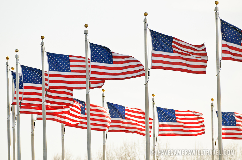 Part of the ring of American flags surrounding the Washington Monument on the National Mall in Washington DC.