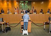Yash Semlani addresses a Board of Trustees meeting, April 13, 2017.