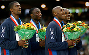 United States gold-medal winning 1,600-meter relay in the IAAF World Championships in Athletics at Stade de France on Sunday, Aug. 31, 2003. From left: Derek Brew, Jerome Young, Tyree Washington and Calvin Harrison.