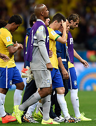 08.07.2014, Mineirao, Belo Horizonte, BRA, FIFA WM, Brasilien vs Deutschland, Halbfinale, im Bild Brazil's Oscar (3rd R) and teammates leave the field // during Semi Final match between Brasil and Germany of the FIFA Worldcup Brazil 2014 at the Mineirao in Belo Horizonte, Brazil on 2014/07/08. EXPA Pictures © 2014, PhotoCredit: EXPA/ Photoshot/ Qi Heng<br /> <br /> *****ATTENTION - for AUT, SLO, CRO, SRB, BIH, MAZ only*****