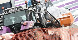 02.01.2015, Bergisel Schanze, Innsbruck, AUT, FIS Ski Sprung Weltcup, 63. Vierschanzentournee, Vorberichte, im Bild Vorbereitungen an den Tribünen// work on the ski jumping hill during preparation of 63rd Four Hills Tournament of FIS Ski Jumping World Cup at the Bergisel Hill in Innsbruck, Austria on 2015/01/02. EXPA Pictures © 2015, PhotoCredit EXPA/ Jakob Gruber