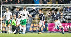 Falkirk's Scott Shepherd celebrates David McCracken scored their goal.<br /> Falkirk 1 v 0 Hibernian, Scottish Championship game played 6/12/2014 at The Falkirk Stadium .