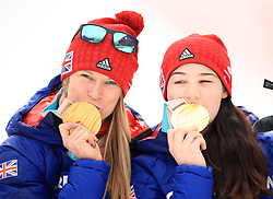 Great Britain's Menna Fitzpatrick (right) with her guide Jennifer Kehoe (left) celebrate gold after winning the Women's Slalom, Visually Impaired at the Jeongseon Alpine Centre during day nine of the PyeongChang 2018 Winter Paralympics in South Korea.