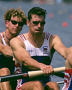 Atlanta, USA. GBR M4-  Greg SEARLE opening stroke, heats, 1996 Olympic Rowing Regatta Lake Lanier, Georgia, USA.  [Mandatory Credit Peter Spurrier/ Intersport Images]