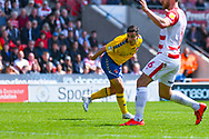 Josh Cullen of Charlton Athletic (24) takes a shot during the EFL Sky Bet League 1 play off first leg match between Doncaster Rovers and Charlton Athletic at the Keepmoat Stadium, Doncaster, England on 12 May 2019.