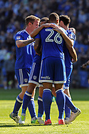 Cardiff City players celebrate with Peter Whittingham's (in huddle) who scores his teams 2nd goal to make it 2-1. EFL Skybet championship match, Cardiff city v Brentford at the Cardiff City Stadium in Cardiff, South Wales on Saturday 8th April 2017.<br /> pic by Carl Robertson, Andrew Orchard sports photography.