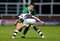 Fergus Mulchrone of London Irish is tackled - Mandatory by-line: Robbie Stephenson/JMP - 17/05/2017 - RUGBY - Headingley Carnegie Stadium - Leeds, England - Yorkshire Carnegie v London Irish - Greene King IPA Championship Final 1st Leg