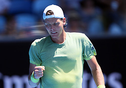 MELBOURNE, Jan. 22, 2018  Tomas Berdych of the Czech Republic celebrates during the men's singles fourth round match against Fabio Fognini of Italy at Australian Open 2018 in Melbourne, Australia, Jan. 22, 2018. Tomas Berdych won 3-0. (Credit Image: © Li Peng/Xinhua via ZUMA Wire)