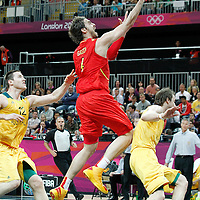 31 July 2012: Spain Pau Gasol goes for the layup during the first half of Spain vs Australia, during the men's basketball preliminary, at the Basketball Arena, in London, Great Britain.